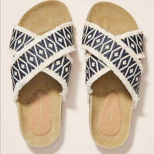 Anthropologie Callie Criss Cross Slide Sandals